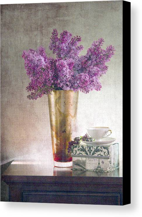 Lilacs Canvas Print featuring the photograph Lilacs In Vase 2 by Rebecca Cozart