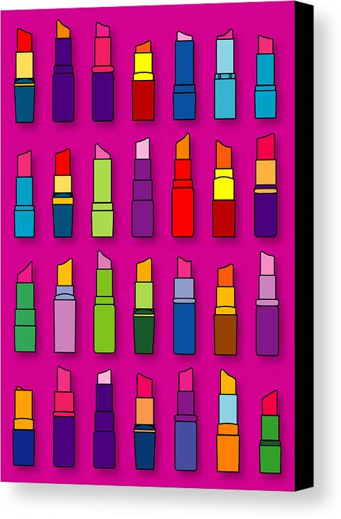 Lipsticks Canvas Print featuring the digital art Lipsticks Pattern by Thisis Notme