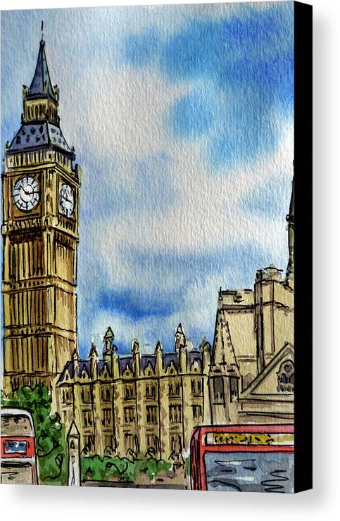 Big Ben Canvas Print featuring the painting London England Big Ben by Irina Sztukowski