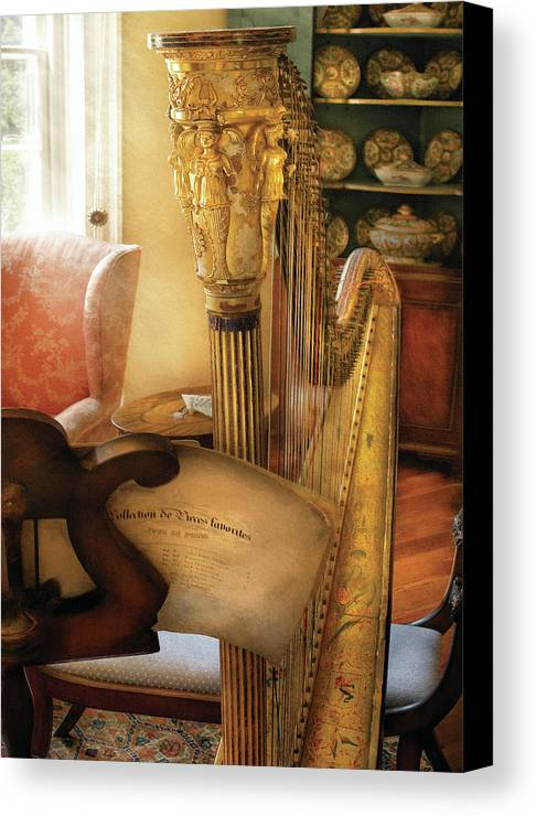Savad Canvas Print featuring the photograph Music - Harp - The Harp by Mike Savad