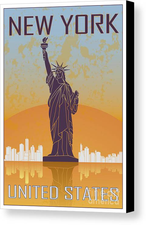 New Canvas Print featuring the digital art New York Vintage Poster by Pablo Romero