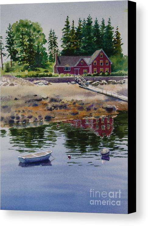 Pine Trees Canvas Print featuring the painting Newagen Dingy by Karol Wyckoff