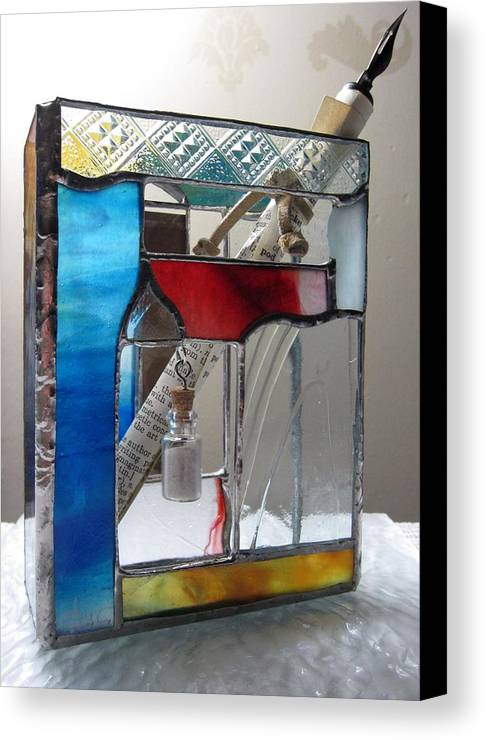 Canvas Print featuring the painting Poet Windowsill Box - Other View by Karin Thue