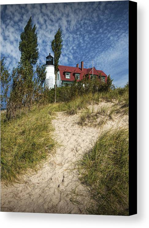 Art Canvas Print featuring the photograph Point Betsie Lighthouse On Lake Michigan by Randall Nyhof