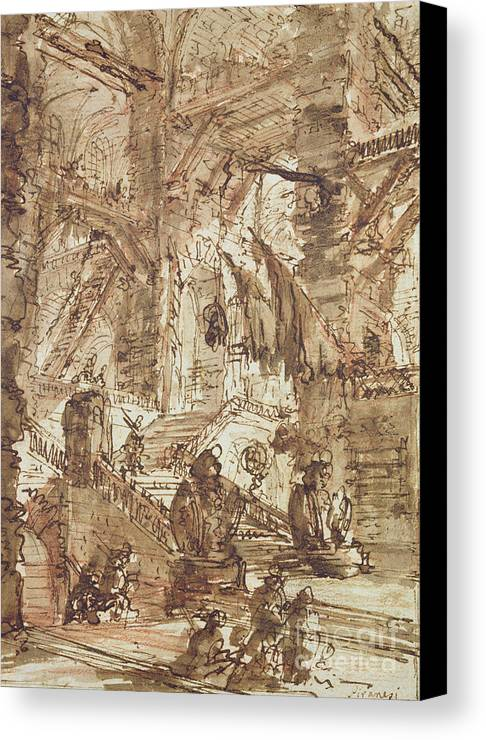 Prison; Gaol; Jail; Incarceration; Dungeon; Imaginary; Fantastic Canvas Print featuring the drawing Preparatory Drawing For Plate Number Viii Of The Carceri Al'invenzione Series by Giovanni Battista Piranesi