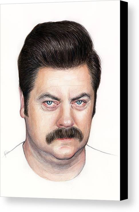 Ron Swanson Canvas Print featuring the painting Ron Swanson Portrait Nick Offerman by Olga Shvartsur