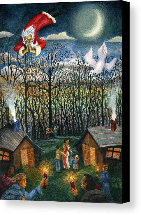 Christmas Canvas Print featuring the painting Saint Nicholas Praying For The Recovery Of His Tradition by Craig Gallaway