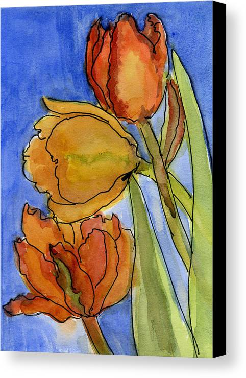 Tulips Canvas Print featuring the painting Spring Tulips by Wendy Le Ber