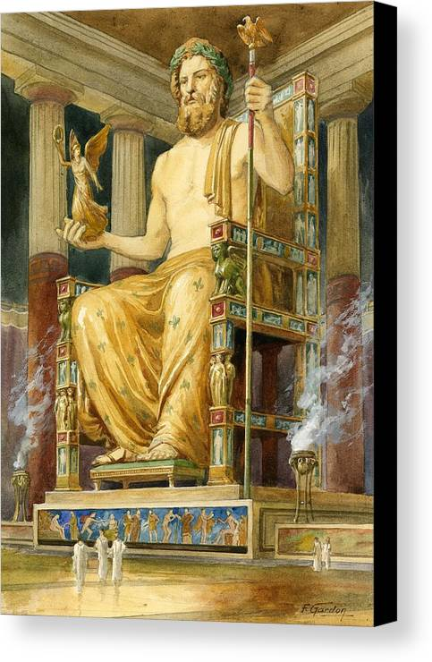 Seven Wonders Of The Ancient World Canvas Print featuring the drawing Statue Of Zeus At Oympia by English School