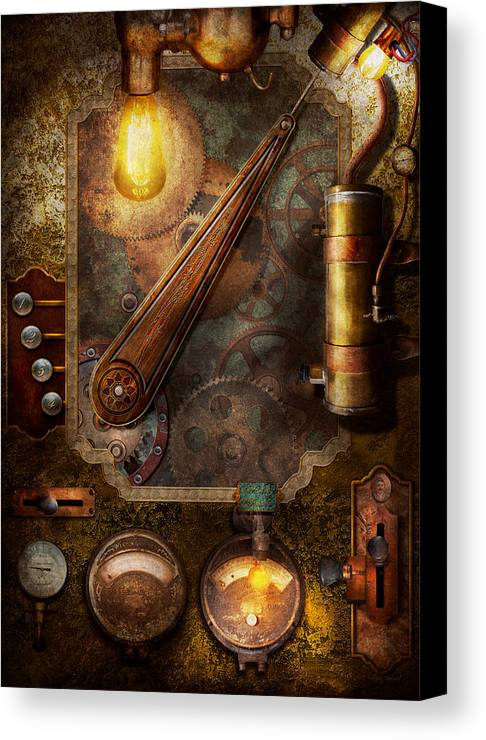 Hdr Canvas Print featuring the digital art Steampunk - Victorian Fuse Box by Mike Savad