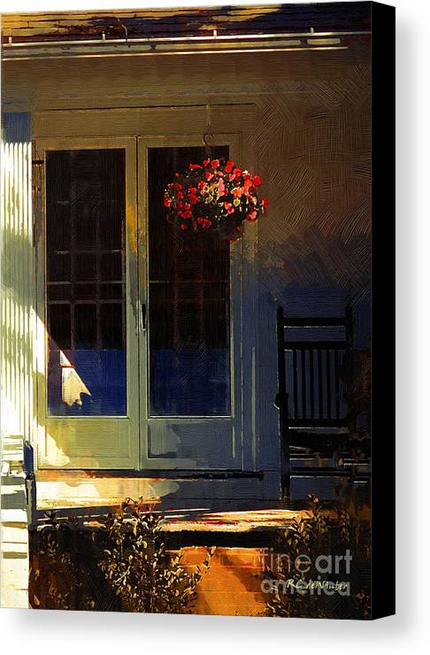 House Canvas Print featuring the painting Sunlight On Scarlet - New England Autumn by RC DeWinter