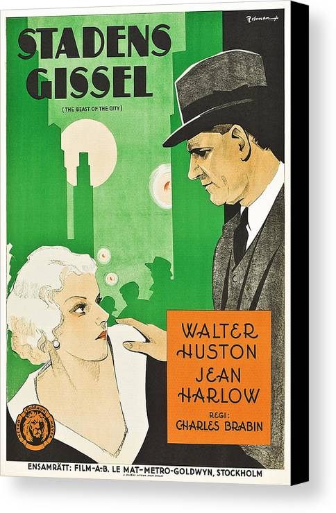 1930s Movies Canvas Print featuring the photograph The Beast Of The City Aka Stadens by Everett