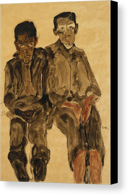 Austrian Art; Austrian Artist; Aversion; Boys Canvas Print featuring the painting Two Seated Boys by Egon Schiele