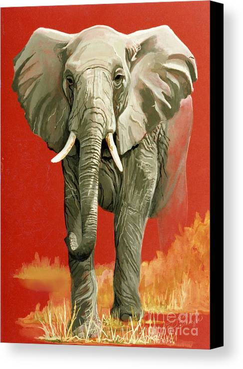Elephant Canvas Print featuring the painting Vanishing Thunder Series by Suzanne Schaefer