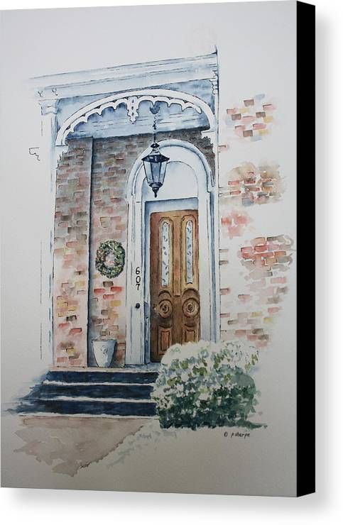 Historic Home Canvas Print featuring the painting Welcome Christmas by Patsy Sharpe