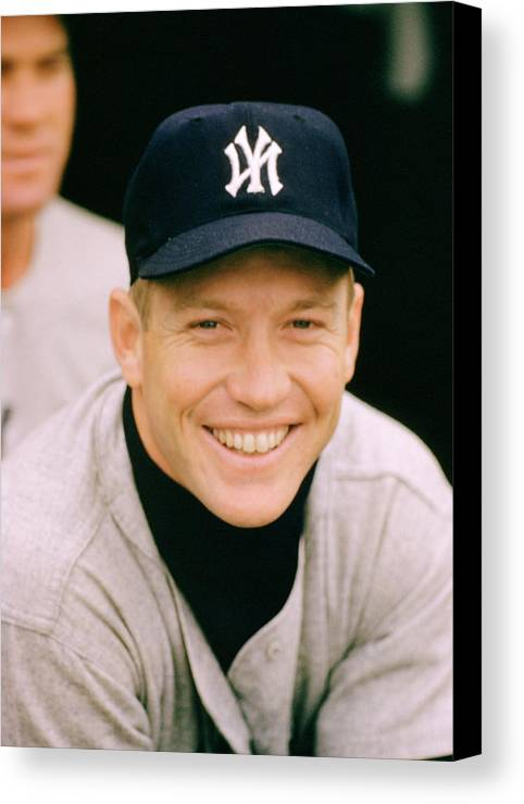 Marvin Newman Canvas Print featuring the photograph Mickey Mantle Smile by Retro Images Archive