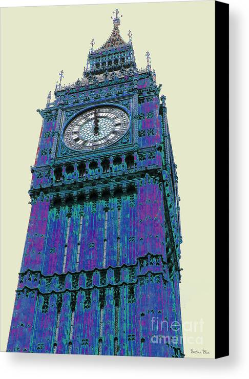 Big Ben Canvas Print featuring the pyrography Big Blue Ben by Beth Saffer