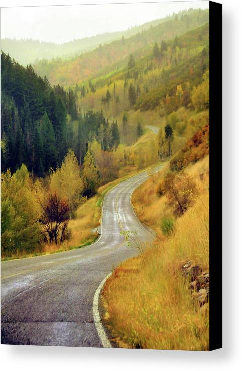 Vertical Canvas Print featuring the photograph Curve Mountain Road With Autumn Trees by Utah-based Photographer Ryan Houston