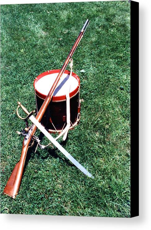 Revolution Canvas Print featuring the photograph Musket Sword And Drum by Bill Wassmann