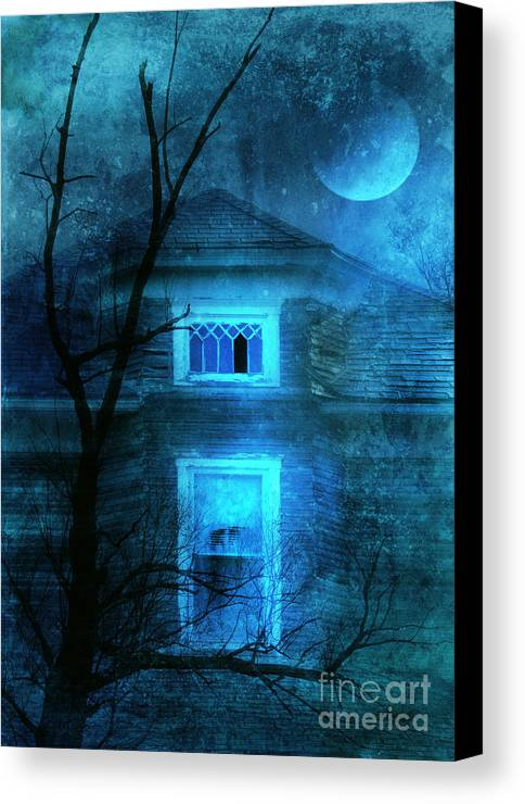 House Canvas Print featuring the photograph Spooky House With Moon by Jill Battaglia