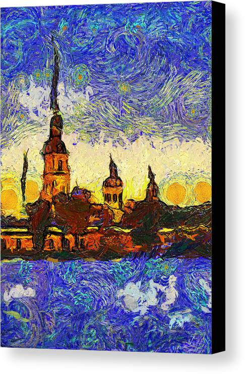 Saint Canvas Print featuring the digital art Starred Saint Petersburg by Yury Malkov