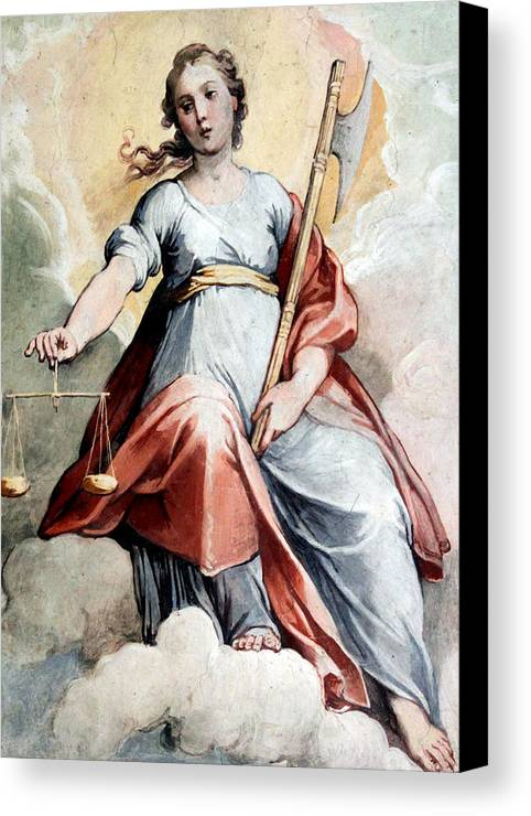 Justice Canvas Print featuring the photograph The Angel Of Justice by Munir Alawi