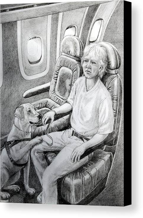 Guide Dog Drawing Canvas Print featuring the painting Trusted Companion by Hanne Lore Koehler