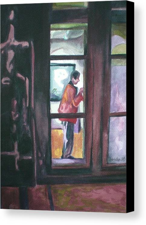 Gallery Visitor Canvas Print featuring the painting Gallery Visitor by Aleksandra Buha