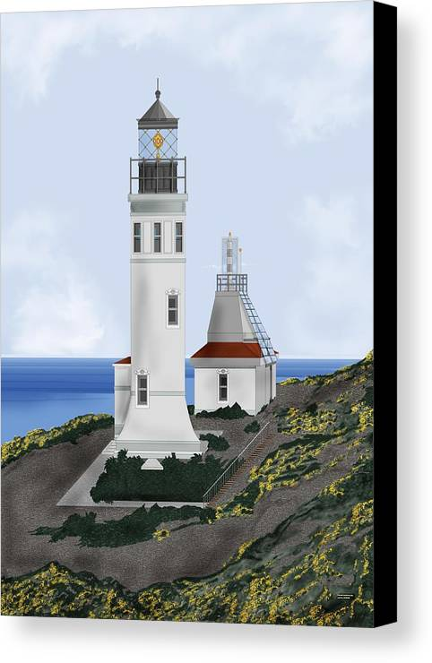Lighthouse Canvas Print featuring the painting Anacapa Lighthouse California by Anne Norskog