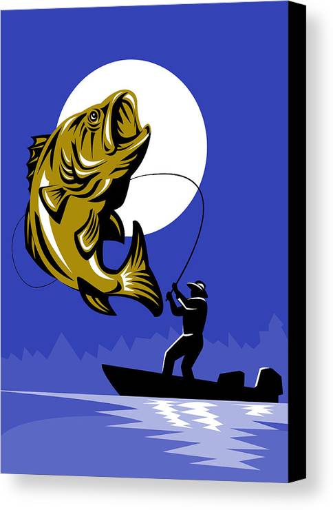 Largemouth Canvas Print featuring the digital art Largemouth Bass Fish And Fly Fisherman by Aloysius Patrimonio
