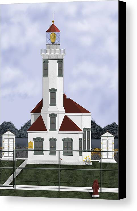 Lighthouse Canvas Print featuring the painting Point Wilson Lighthouse by Anne Norskog