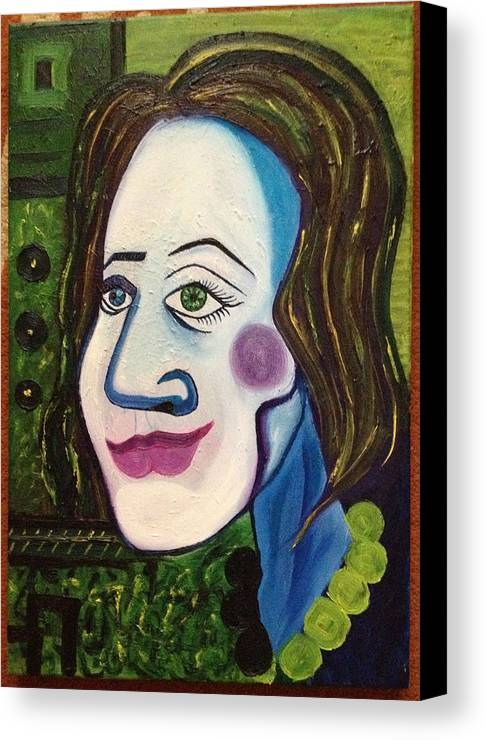 Portrait Of A Woman Modern Green Lover Messy Canvas Print featuring the painting Portrat Of M.b. by Costin Tudor