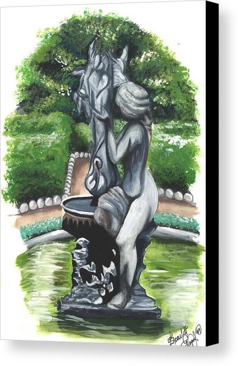 Fountain Canvas Print featuring the painting The Hidden Fountain by Scarlett Royal