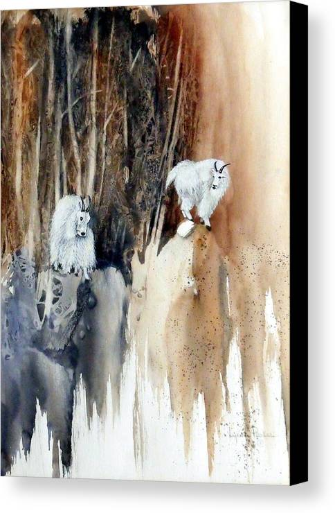 Mt. Goats Canvas Print featuring the painting Its Not That Far by Lynne Parker