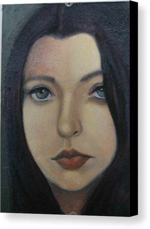 Girl Canvas Print featuring the painting That Stare by Toni Berry