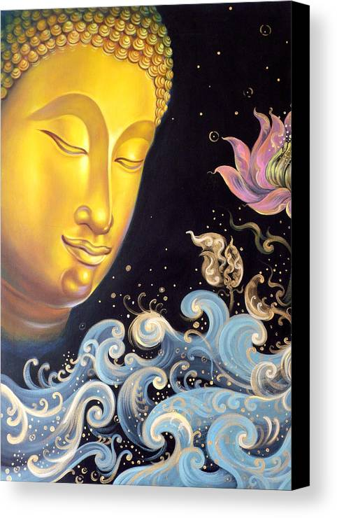 Acrylic Canvas Print featuring the painting The Light Of Buddhism by Chonkhet Phanwichien