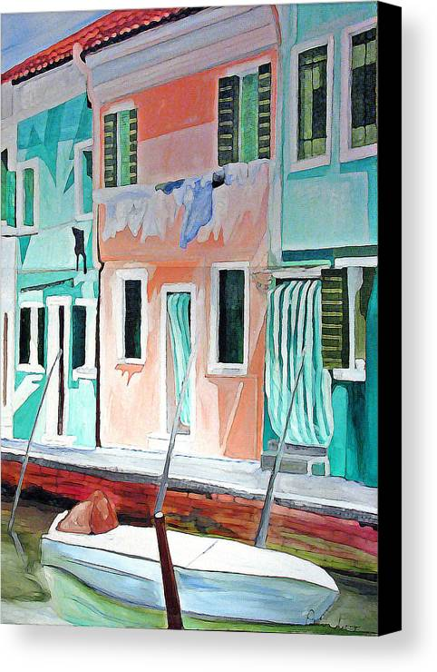 Italy Canvas Print featuring the painting A Day In Burrano by Patricia Arroyo