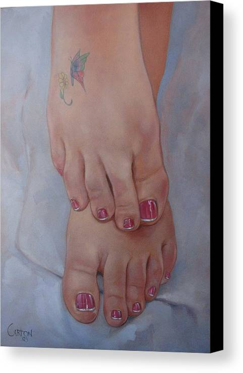 Pretty Feet Canvas Print featuring the painting Aimee by Jerrold Carton
