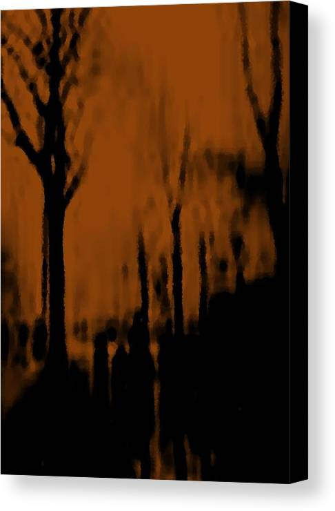 Trees.street.rain.clouds.wet People.the Naked Branches Of The Trees.the Gloomy Light. Canvas Print featuring the digital art Autumn Wet Day by Dr Loifer Vladimir