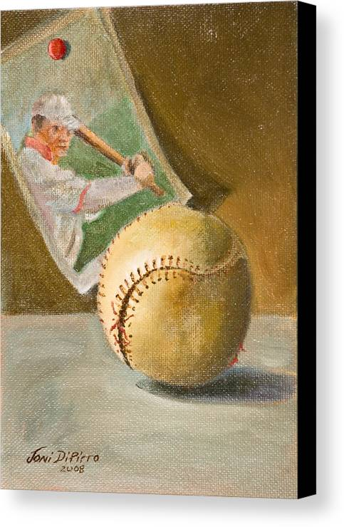 Sports Canvas Print featuring the painting Baseball And Card by Joni Dipirro