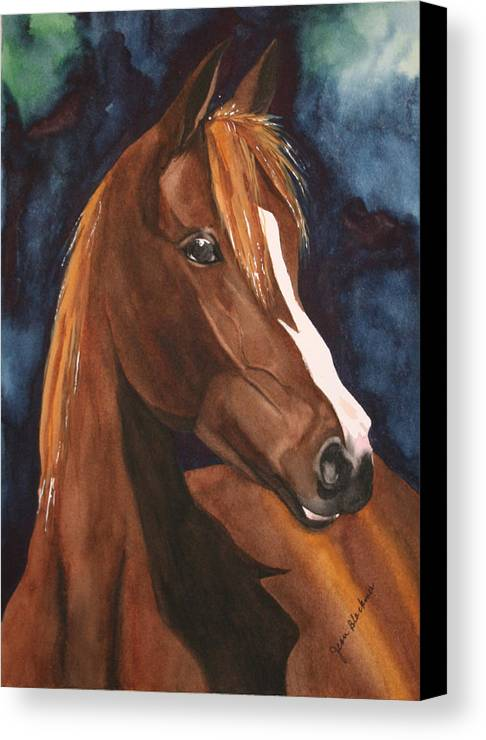 Horse Canvas Print featuring the painting Bay On Blue 2 by Jean Blackmer