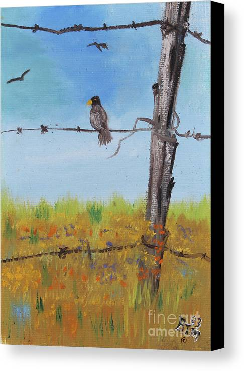 Bird On A Wire Canvas Print / Canvas Art by Betty McGregor