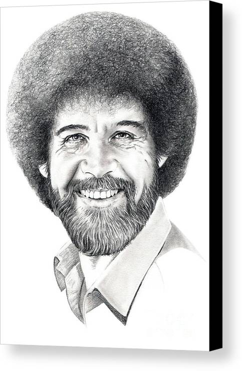 Pencil Canvas Print featuring the drawing Bob Ross by Murphy Elliott