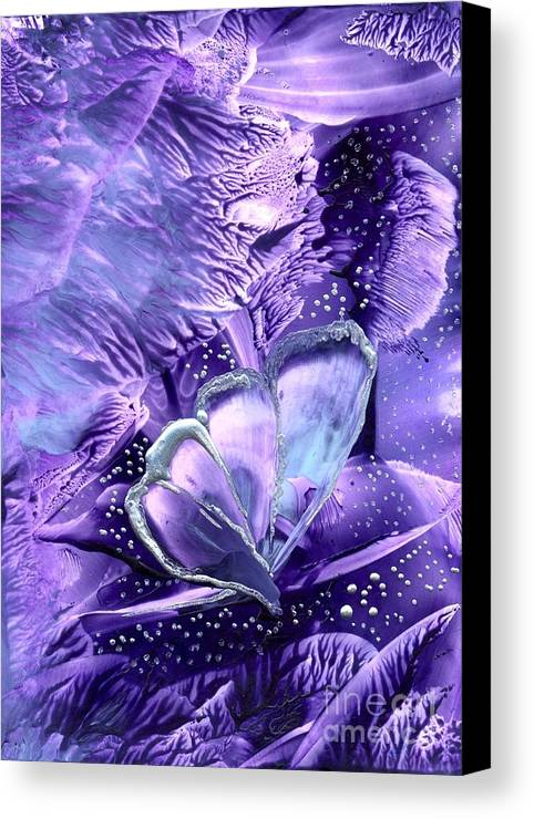 Abstract Encaustic Canvas Print featuring the painting Butterflies Are Real 1 by Heather Hennick