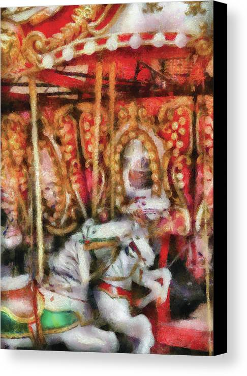 Savad Canvas Print featuring the photograph Carnival - The Carousel - Painted by Mike Savad