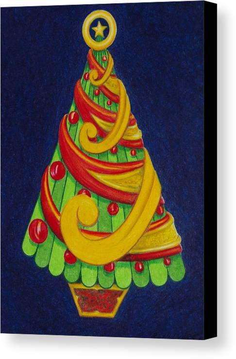 Christmas Canvas Print featuring the drawing Christmas Tree No. Three by Rick Ahlvers