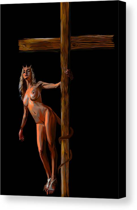 She Devil Canvas Print featuring the painting Crucified by Tbone Oliver