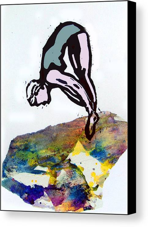Lino Canvas Print featuring the mixed media Dive - Evening Pool by Adam Kissel