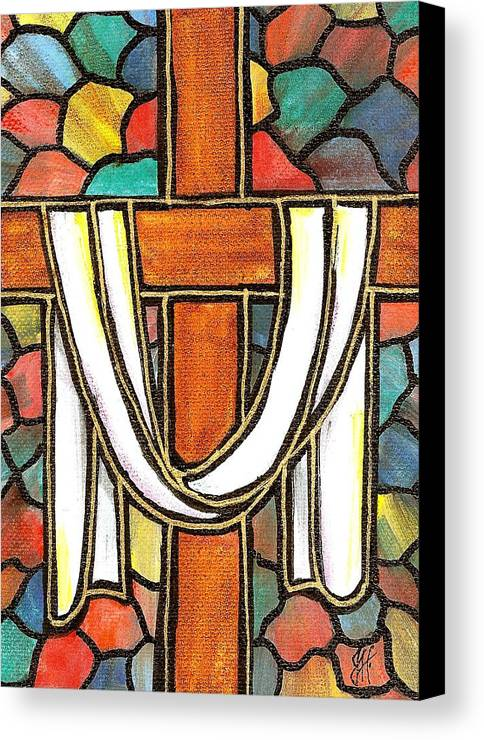 Easter Canvas Print featuring the painting Easter Cross 6 by Jim Harris