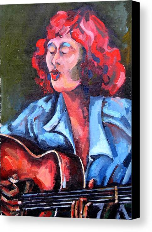 Blues Musician Canvas Print featuring the painting Eleanor Ellis - Diving Duck Blues by Jackie Merritt